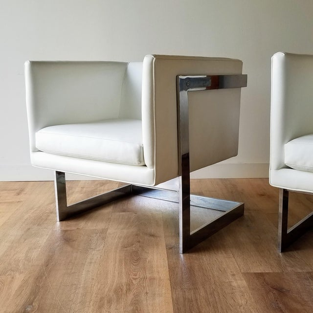"""1970s 1970s Milo Baughman Style """"T Back"""" Lounge Chairs in White Calf Leather - a Pair For Sale - Image 5 of 13"""