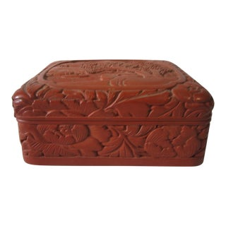 1930s Asian Antique Cinnabar Box For Sale