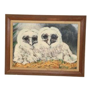 1960s Vintage 2 Owls Framed Painting For Sale