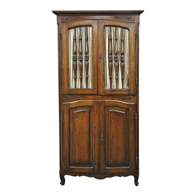 Late 20th Century Brown Wooden Corner Cabinet For Sale - Image 4 of 4