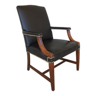 Chippendale Style Black Leather Nailhead Library Chair
