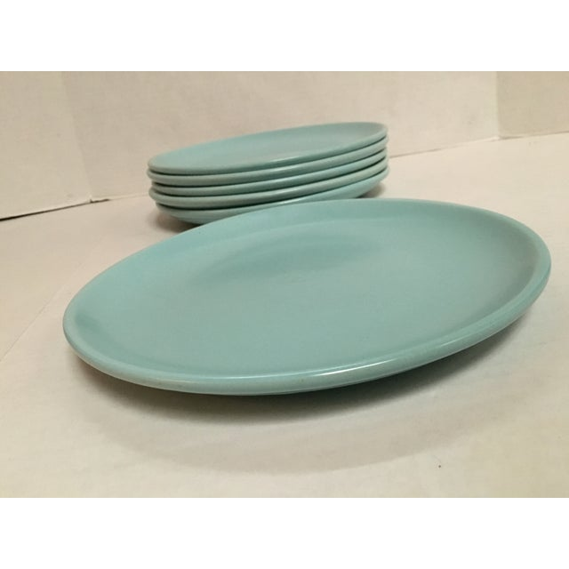 Mid Century Aqua Pottery Plates - Set of 6 - Image 7 of 8