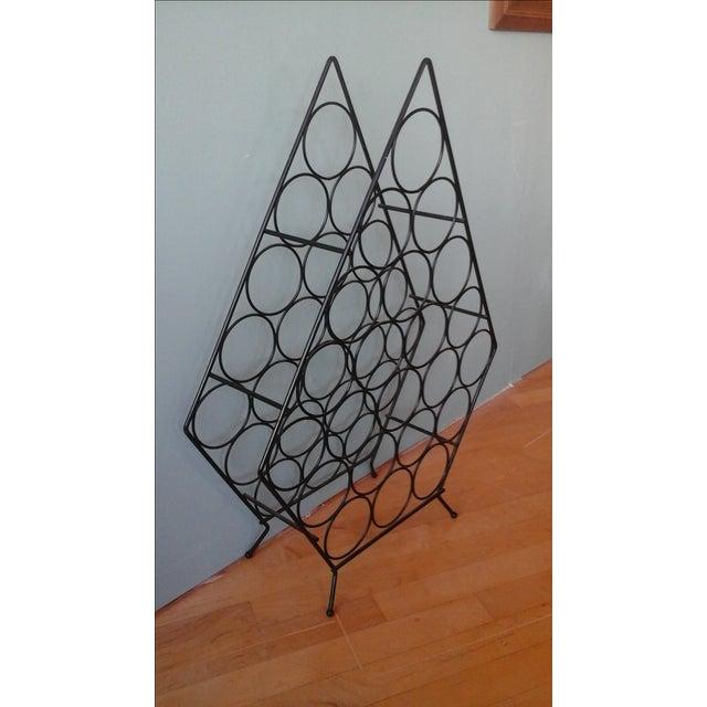 Vintage Mid-Century Metal Wire Diamond Wine Rack - Image 3 of 4