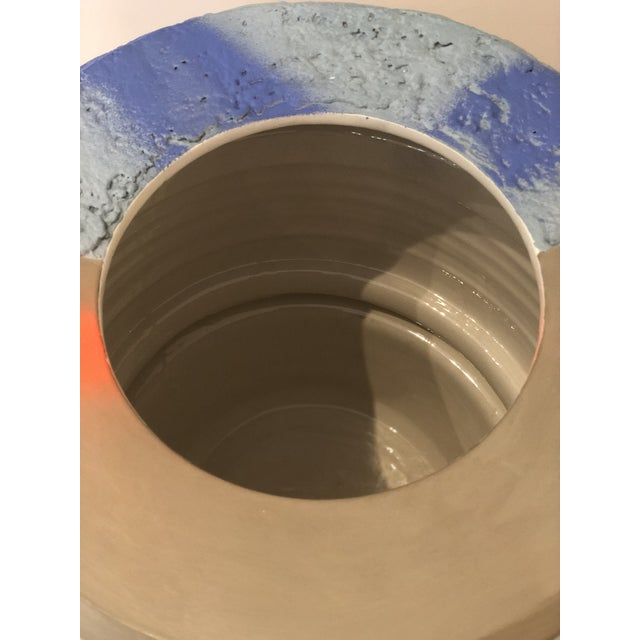 Modern Ceramic Planter With Orange and Blue Design For Sale - Image 4 of 6