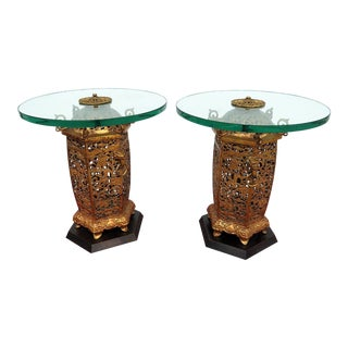 Pair of Regency Style Glass Top End Tables For Sale