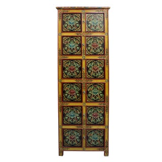 Chinese Tibetan Floral Graphic Tall Slim Multi Shelves Cabinet For Sale