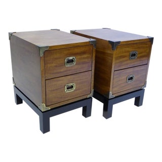 PAIR Mid Century Modern Walnut Campaign Style Nightstands by Mt. Airy 1970s .