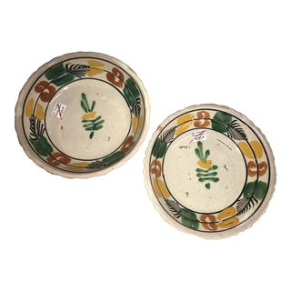 Vintage Mexican Ceramic Pozole Bowls Hand Painted Green Flower Design - a Pair For Sale