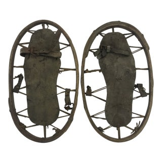 Leather and Wood Snow Shoes, Pair For Sale