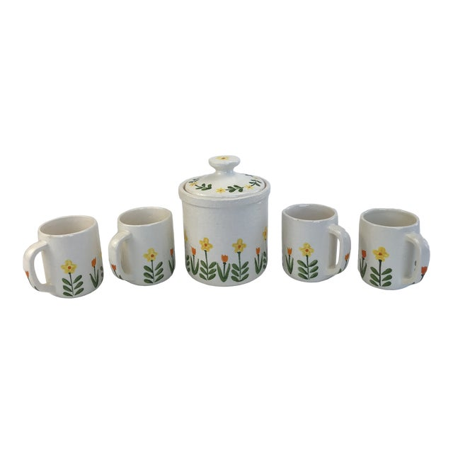 White 1960's Japanese Coffee Cups and Canister - Set of 5 For Sale