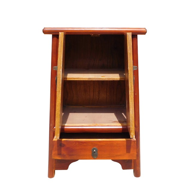Brown Chinese A Shape End Table/Nightstand - Image 5 of 5