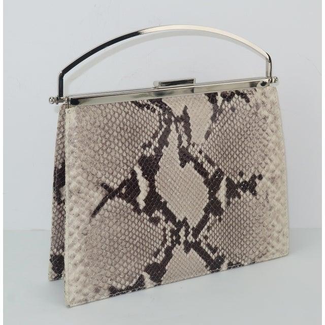 Vintage Neiman Marcus Python Printed Leather Handbag With Silver Handle For Sale - Image 4 of 12