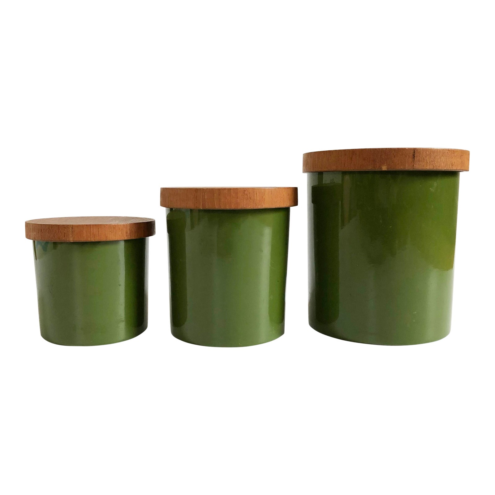 Mid Century Avocado Green Kitchen Canisters - Set of 3