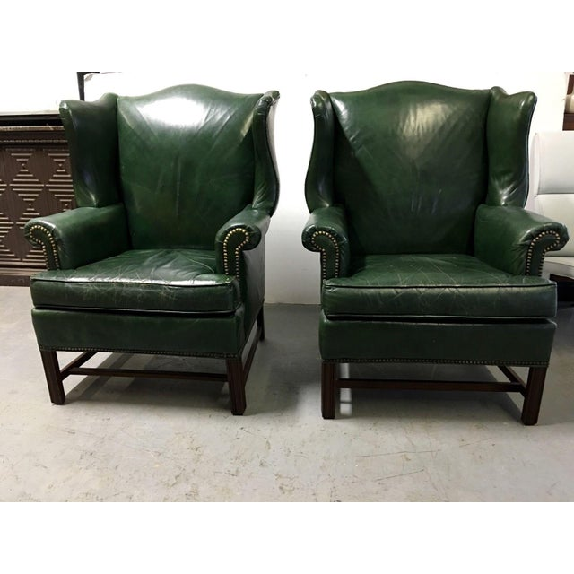 Traditional Vintage Green Leather Wingback Chairs - A Pair For Sale - Image 3 of 11