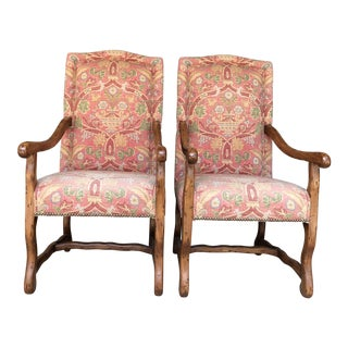 Freemark Designs Provence Country French Style, Antique Milano Finish, Upholstered in Custom Thibaut Fabric Arm Chairs - a Pair For Sale