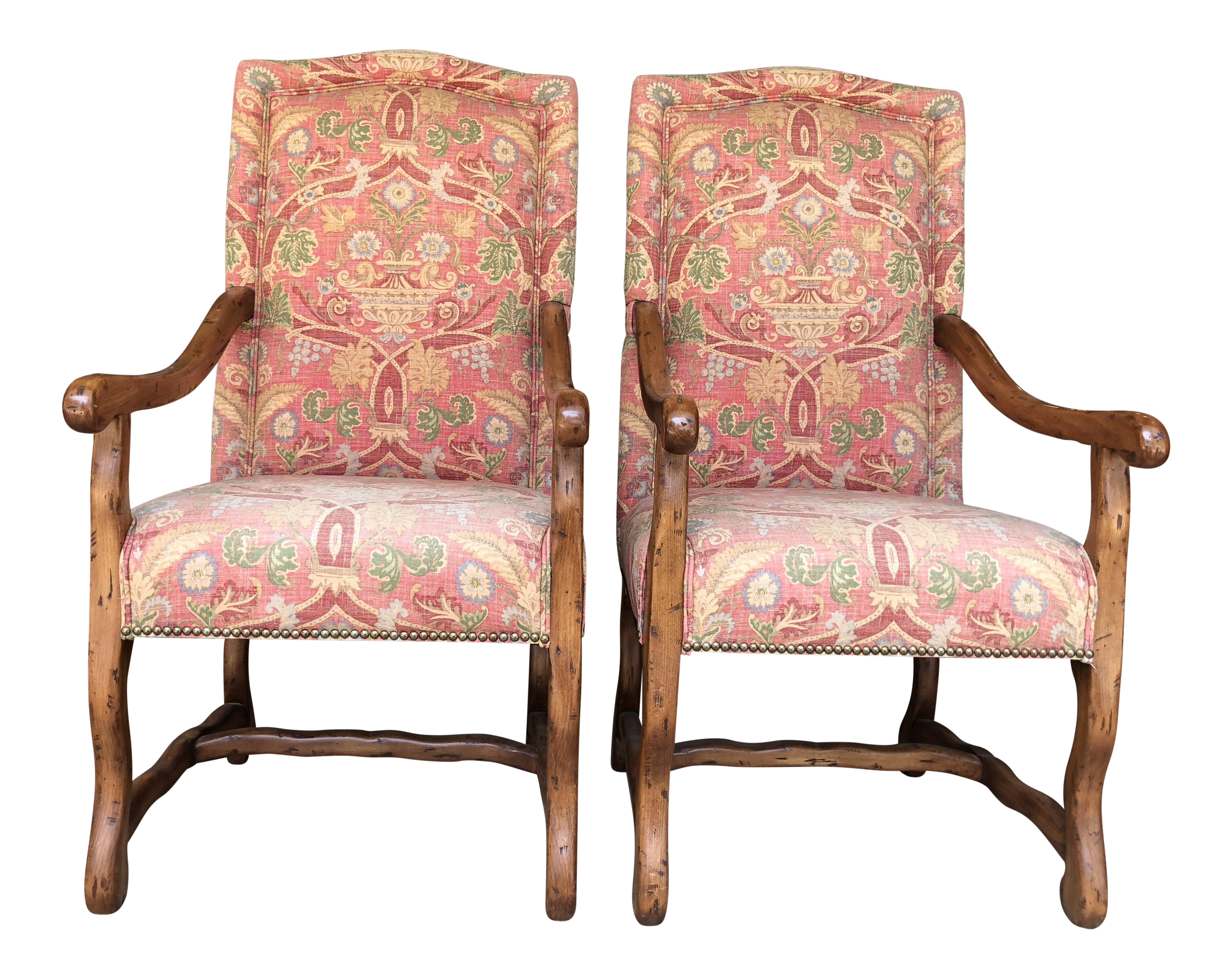 Freemark Designs Provence Country French Style, Antique Milano Finish,  Upholstered In Custom Thibaut Fabric