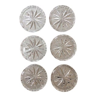 "Vintage Pressed Glass 4"" Starburst Coasters - Set of 6 For Sale"
