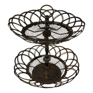 French Two-Tiered Twisted Wire Egg Stand Basket, Circa 1890-1910