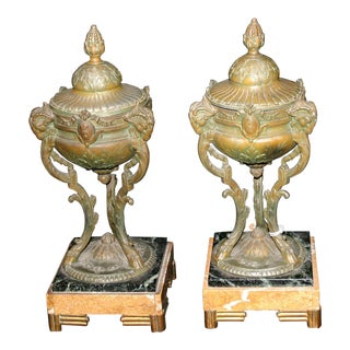 Early 19th Century Antique French Bronze & Marble Incense Burners - A Pair For Sale