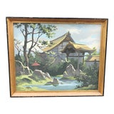 Image of Vintage Mid Century Chinoiserie Pagoda Themed Paint by Number Style Painting For Sale