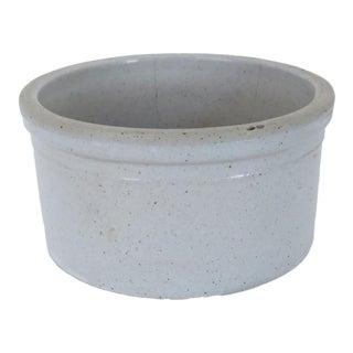 Antique Small White Round Ceramic Stoneware Low Crock For Sale