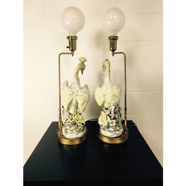 Freeman Leidy Ceramic Crane Lamps - Pair For Sale In Seattle - Image 6 of 10