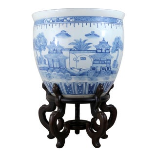 Large Maitland Smith Blue and White Fishbowl With Stand For Sale