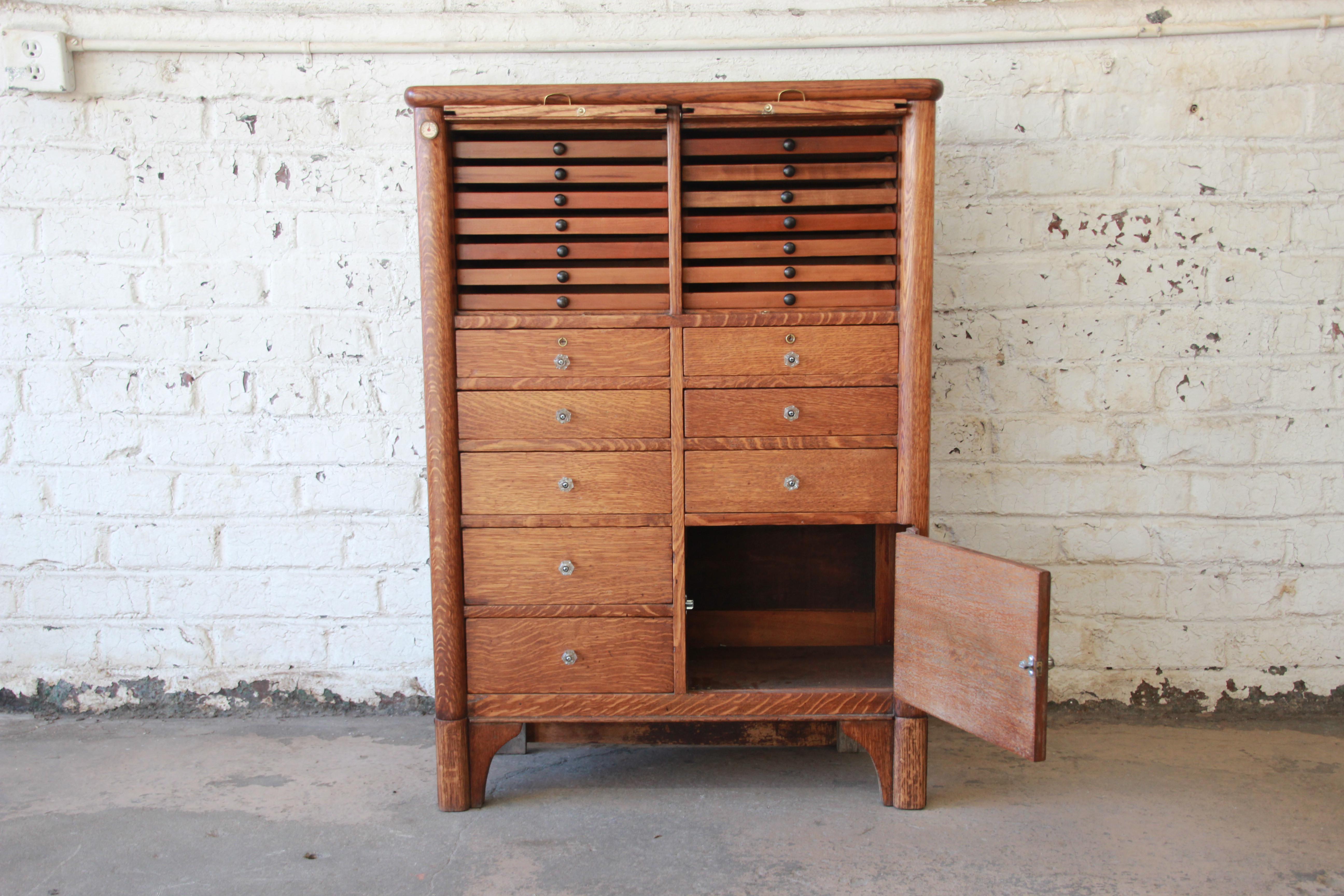Superior Antique Oak 22 Drawer Dental Cabinet Decaso
