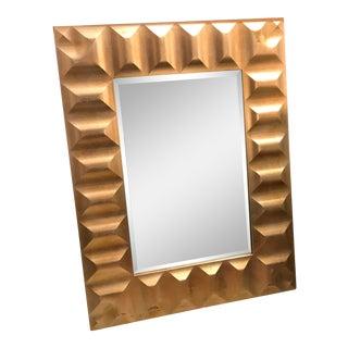 Platinum Gold Heavy Framed Beveled Mirror, Vintage For Sale