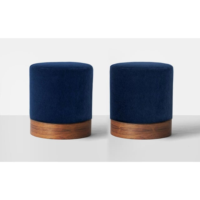 2010s Modern Indigo Mohair and Rosewood Plinth Ottoman Stools- A Pair For Sale - Image 5 of 5