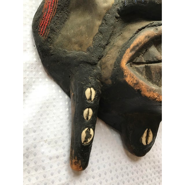 Large Metal Beads & Shells African Wooden Mask - Image 7 of 11