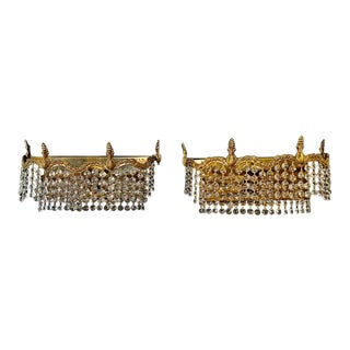 1940s Hollywood Regency Crystal Sconces - a Pair For Sale