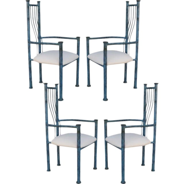 Blue Patinated Metal Chairs - Set Of 4 - Image 1 of 6