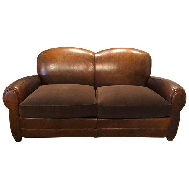 Wood Vintage Leather Club Sofa For Sale - Image 7 of 7