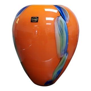 Vintage Makora Krosno ul.ks.j. Popieluszki 92 Art Glass Vase Hand Blown Hand Made in Poland For Sale