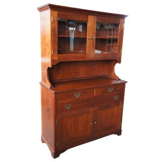 20th Century Early American Style Solid Cherry Glass Front China Hutch For Sale