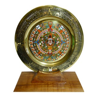 Aztec Calendar Enameled Metal Wall Plaque Plate on Wooden Stand For Sale
