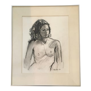 1980s Framed Nude Figure Drawing For Sale