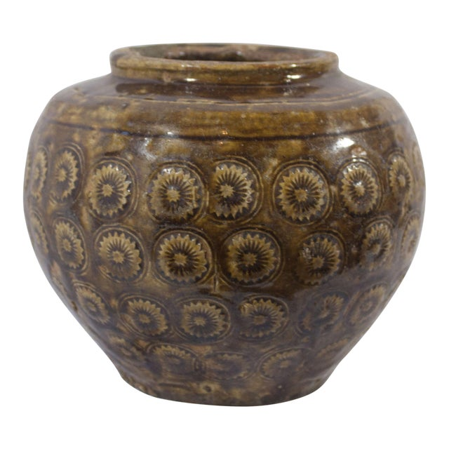Antique 19th Century Thai Pottery Stamped Floral Motif Vessel With Earthen Brown/Green Glaze For Sale