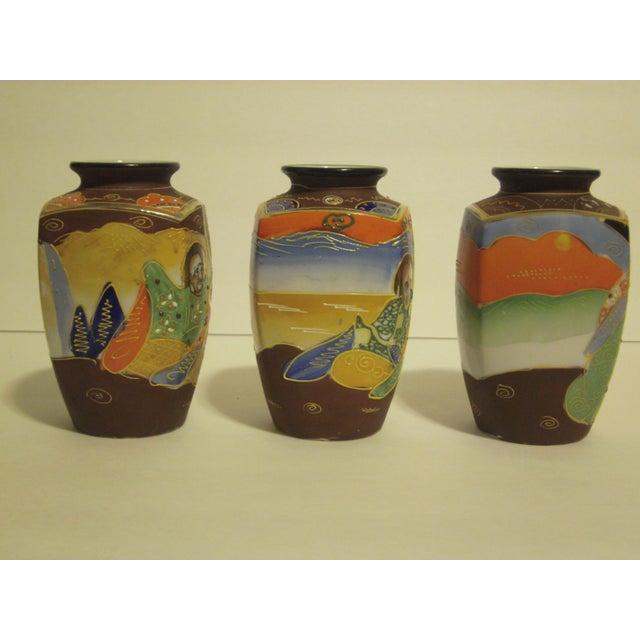 Vintage Japanese Satsuma Vases - Set of 3 - Image 6 of 10