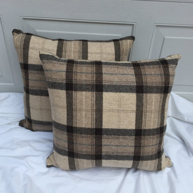 Pair of custom imported Scottish tartan pillows made from soft lambs wool. New complimentary tweed backs. Zipper closures...