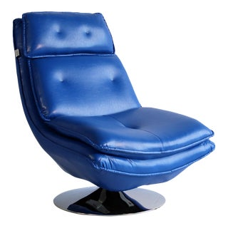 Pasargad DC Turin Swivel Lounge Leather Chair For Sale