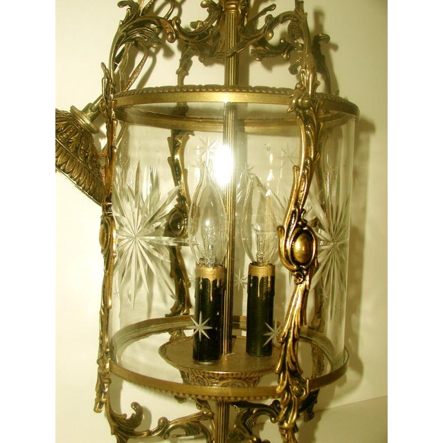 Etched & Rewired German Crystal/Bronze Fixture - Image 4 of 10