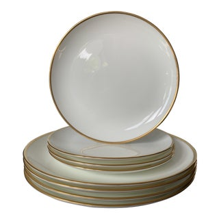 Tiffany & Co. Bone China Gold Trim Dinner Plates - Set of 8 For Sale