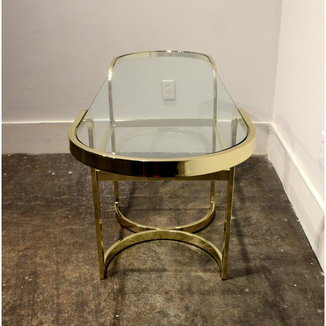 Brass Console Cafe Table With Pink Chairs by Dia Design Institute of America For Sale In Dallas - Image 6 of 8