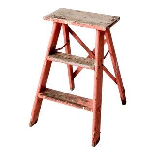 Vintage Pink Wooden Step Ladder For Sale
