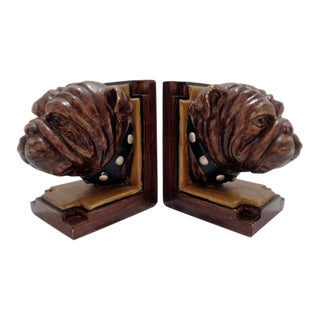1960s Vintage Pug Bulldog Hand Painted Dog Bookends - a Pair For Sale