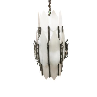 Art Deco White Slat Glass Hanging Chandelier With Geometric Details For Sale