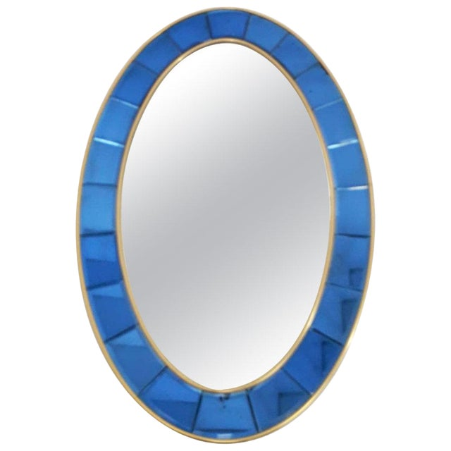 Vintage Mid Century Oval Mirror by Cristal Art For Sale