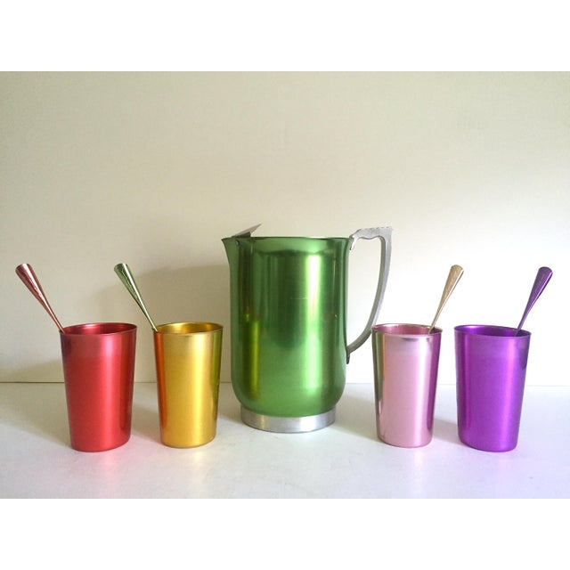 Mid-Century Modern Vintage Mid Century Modern Rare Anodized Spun Aluminum Multicolor Beverage Serving Set - 9pc For Sale - Image 3 of 13